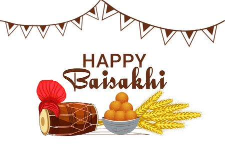 Happy Baisakhi festival of Punjab in India with harvest, sweets, dhol and turban.