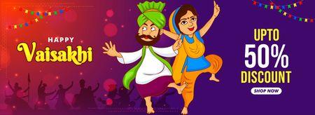 Banner, web header illustration of punjabi couple dancing on celebration of vaisakhi festival of india. Shop now upto 50% discount online sale.