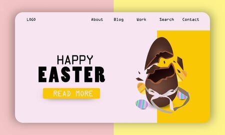 Happy Easter landing page use for web, social media benner. Illustration