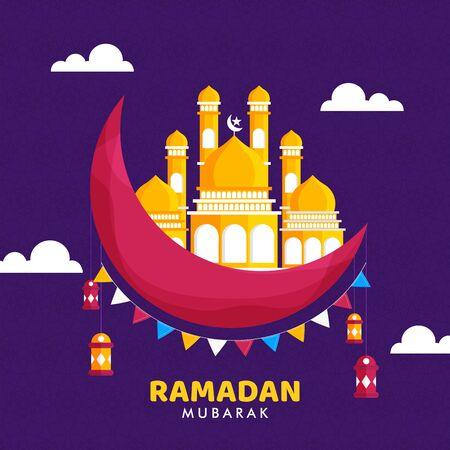 Ramadan Kareem festival of islamic muslims minimal design concept on night background or hanging lantern.