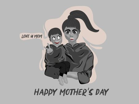 Happy Mother's Day minimal design concept with Love of mother and child black dark vector illustration. Use for social media banner, poster, advertisement, post, sale. Vetores