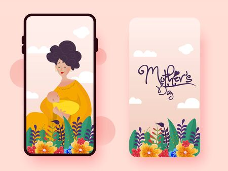 Happy Mother's Day vector, illustration with the love of mother and baby. Use for mobile(cell) phone screen, wallpaper, and back cover with flowers and leaves.