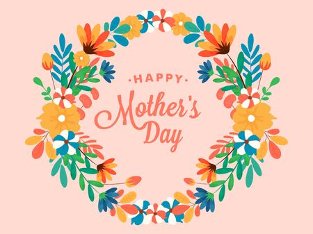Happy mother's day. Illustration of beautiful bunch of flowers floral background design, greeting card, template.