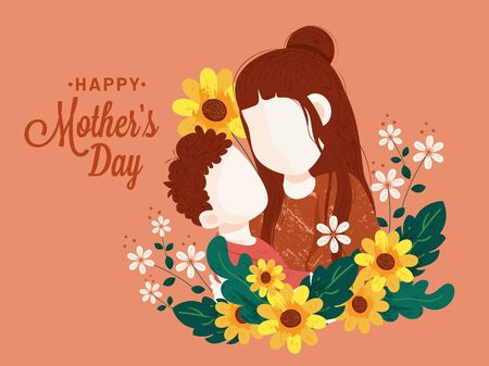 Happy mother's day concept design with illustration of mother and son hug each other. child love for his mom, Brush abstract textured design banner background.