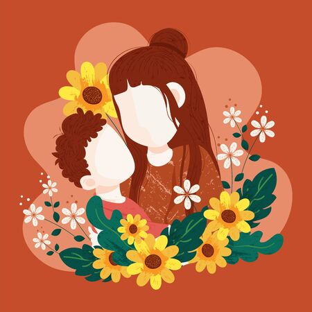 Happy mother's day concept design with illustration of mother and son hug each other. Elegant textured design with brush with beautiful background.