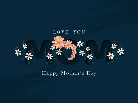Happy mother's day greeting card paper cut design with beautiful textured pattern flower in green background.