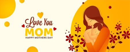 Illustration of a mother and her little baby, Banner, poster or web header design, Beautiful red flower with abstract background. Concept for Happy mother's day.
