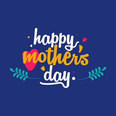 Happy Mother's Day typography design with leaves and heart . Uses it for emblem, badges, typography design, mug, t-shirts, calligraphy design, social media posts, banner, advertisement, poster, etc. 矢量图像