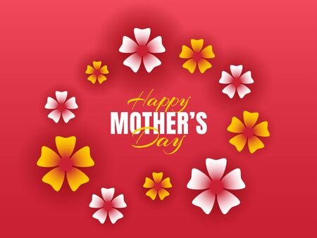 Happy mother's day. Floral red background or Use it for emblem, badges, typography design, mug, t-shirts, calligraphy design, social media banner, advertisement, poster, etc