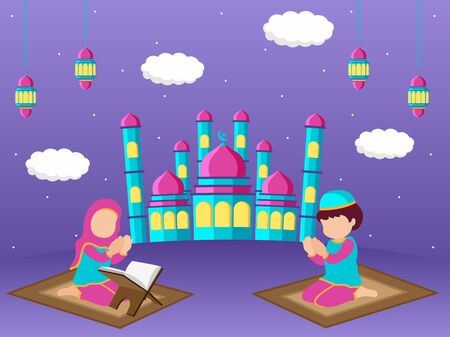 Illustration of mosque, Man and woman pray allah at front of mosque, Paper cut origami art. Eid mubarak.
