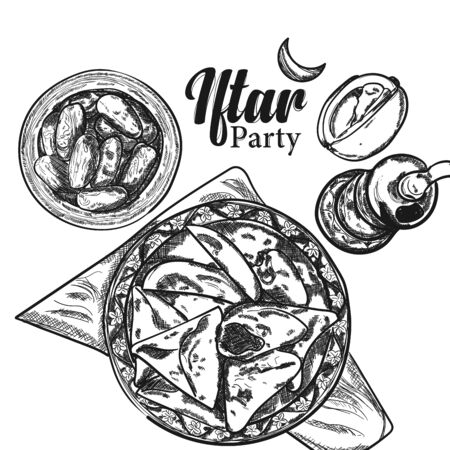 Hand drawn sketch illustration of iftar food on top view, Doodle art of beautiful healthy meal for celebration of ramadan kareem, Iftar or eid mubarak. Иллюстрация