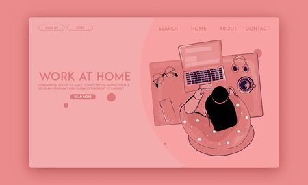 Work From Home webpage template top view design concept. A woman doing work at home on her laptop at her home with full of dedication. Freelancing work, online classes, education, study. Ilustrace