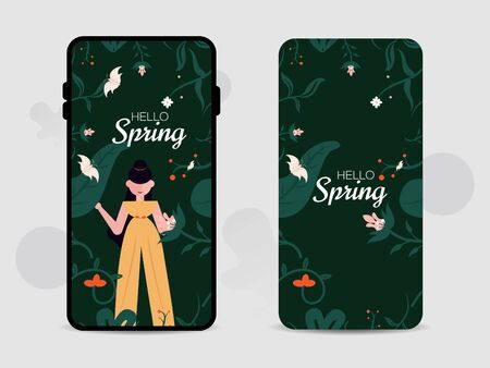 Mobile cell phone seamless screen, wallpaper, and back cover design for hello spring. Use it summer background, summer, spring, monsoon, etc.