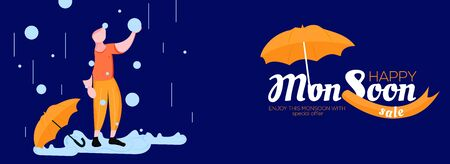 Social media banner design for happy monsoon sale with special offers with rainy background and umbrella a girl illustration with water drop. Use it sale, poster, banner, advertisement post. Vektoros illusztráció