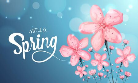 Vector background with beautiful spring cherry blossom flower. Sakura branch in springtime on bokeh effect. hello spring calligraphy.