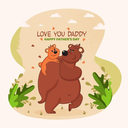 A small little bear (son) on his father's shoulder, father and son duo walking on garden area with green leaves and clouds, animal parents love for father's day celebration - vector