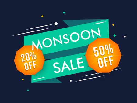 Creative abstract background on Happy Monsoon end of special offer sale badges. Vektorové ilustrace