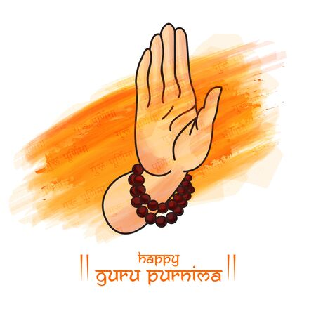 Guru purnima festival of indians and nepalese dedicate to spritual teachers and gurus. concept of guru hand, give blesses to his shishya.