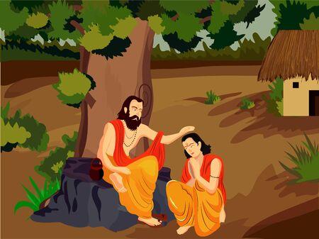 illustration of guru or shishya chemistry , festival for teacher guru purnima. Illustration