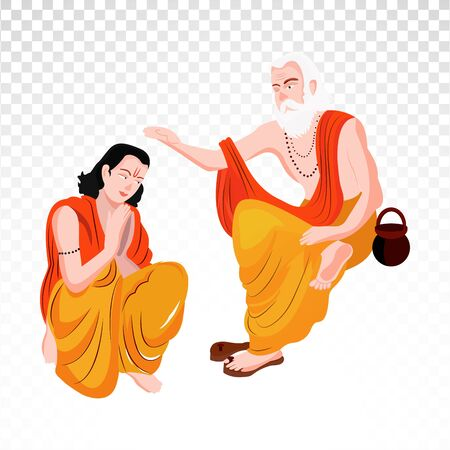 Guru purnima charachter on png background. Illustration