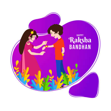 Happy Raksha bandhan. abstract concept on indian festival raksha bandhan festival of brother's and sister's love and care. happy rakhi