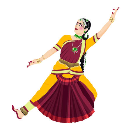 15 august.Beautiful indian women pose ofclassical dance form with beautiful blue red coloured classical dance costume and heavy jwellery. Vector Illustration