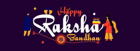 Social media banner for Happy Raksha Bandhan. Brother and sister's love special bond with sweets and rakhi and lamp. vector illustration of brother and sister.