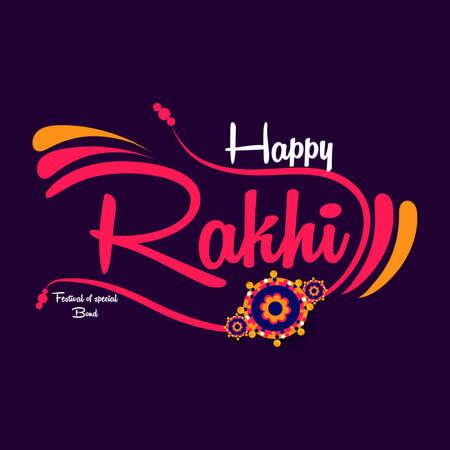 Happy Raksha Bandhan. Typography and calligraphy design concept for indian festival Rakhi, Raksha Bandhan. Use it for social media banner, poster, flyer, advertisement, sale, t-shirts, mug etc.