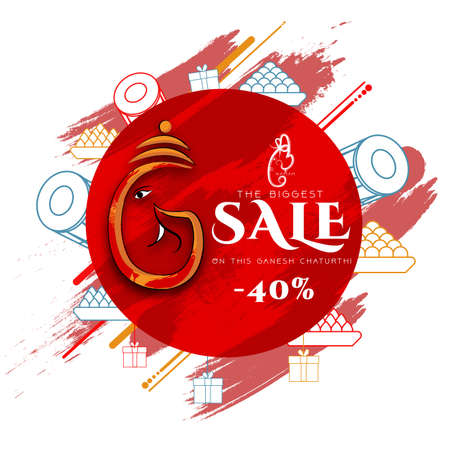 Lord Ganpati in vector for Happy Ganesh Chaturthi festival celebration of India Shopping Sale brush abstract background with doodles _Vector,illustration.
