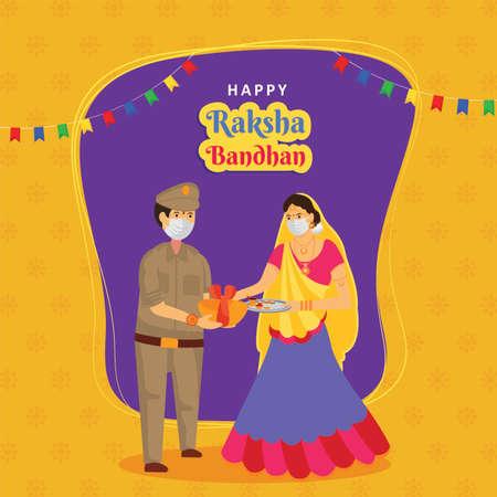 Happy Raksha Bandhan indian festival of brother and sister bond celebration. Creative minimal decorated background design with covid 19 concept. Illustration