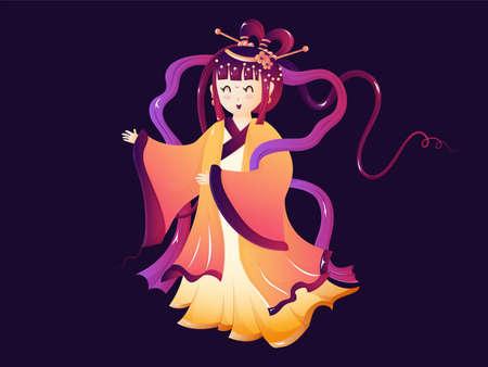Beautiful goddess of moon illustration for mid autumn festival.