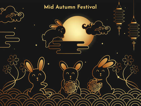 Creative traditional design celebration of chinese mid autumn festival. National holiday in china.