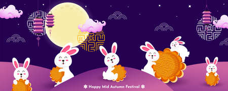 Chinese Mid autumn festival landscape background, cute bunny and mooncake vector illustration.