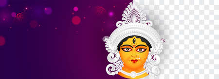 Banner,Header design on navratri & Durga Puja with Illustration of Goddess Durga beautiful Face. space for your text.