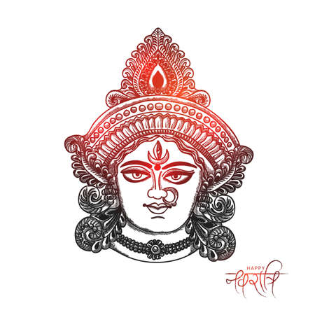Illustration sketching Of Happy Navratri Greeting Card Design With Beautiful Maa Durga Face.