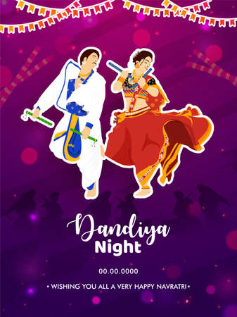 Dandiya night party flyer. Illustration of couple dandiya dance pose on the indian festival of Navratri.