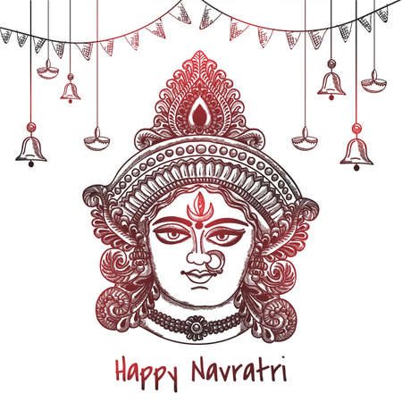 Vector Illustration sketching Of Happy Navratri Greeting Card Design With Beautiful Maa Durga Face with decorative Background.