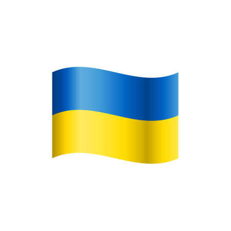 Waving flag of Ukraine on white background. Vector illustration.