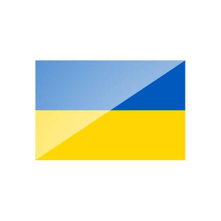 Vector illustration of national flag of Ukraine with highlight on white background. Ukrainian flag  イラスト・ベクター素材