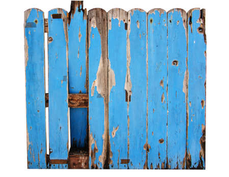 Old garden fence on a white photo