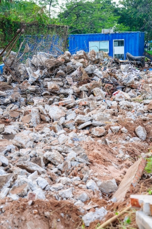 Garbage bricks heap in Construction site photo