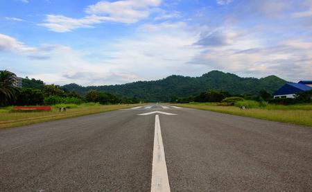 Airport Runway Beautiful Blue Sky Stock Photo