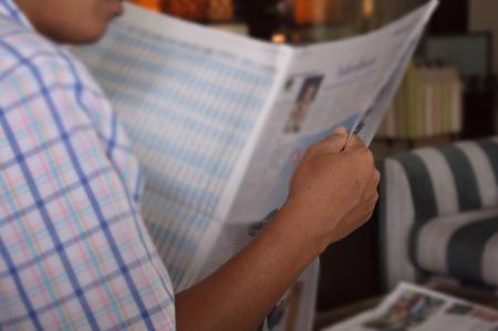 businessman reading newspaper photo