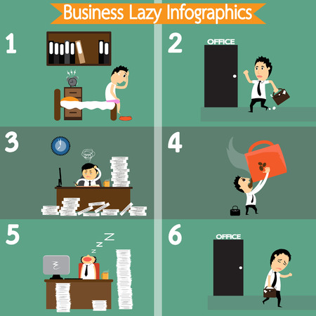 Cartoon business lazy infographics, All lazy business  life time in day vector illustration. Vector