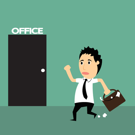 Cartoon business man to late of work, he hurry up, vector illustration. Ilustrace
