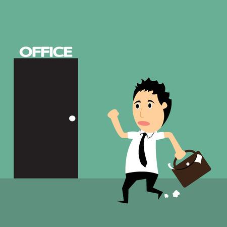 hurry up: Cartoon uomo d'affari in ritardo di lavoro, sbrigati, illustrazione vettoriale.