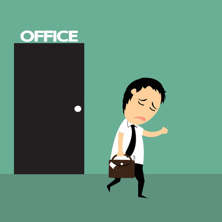 unsuccess: cartoon business man very tired and finish of work lately over times hard working, He walk from office with fatigue, vector illustration.