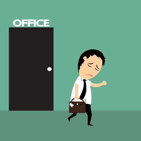 dibujos animados hombre de negocios muy cansado y acabado de trabajo últimamente sobre los tiempos de trabajo duro, Él a pie de la oficina con la fatiga, la ilustración vectorial. Vectores