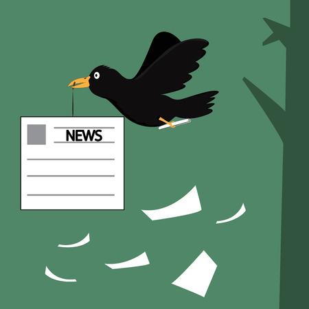 cartoon crow pass on the information, Cartoon crow the postman, negative pass on the infomation vector illustration. Vector