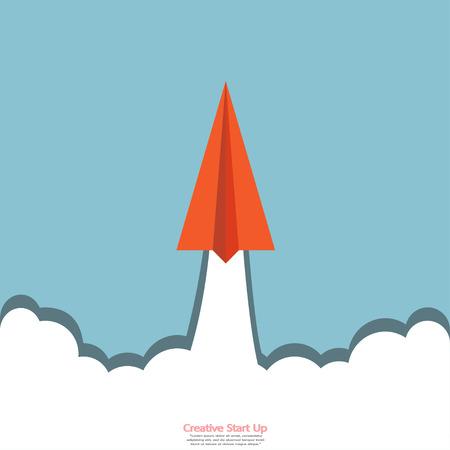 Paper airplane on the sky creative start up, start idea, start-up, Cartoon business vector illustration.